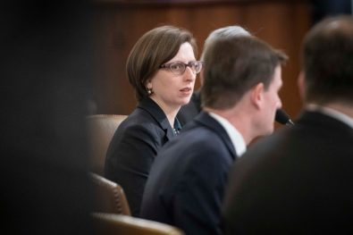 """LAURA COOPER, deputy assistant secretary of Defense, and DAVID HALE, undersecretary of State, testify before the House Intelligence Committee. Cooper testified that Russia would benefit most from withholding of military aid to Ukraine, and said that """"I and my colleagues advocated strenuously for the release of these funds because of their national security importance."""" November 20, 2019"""