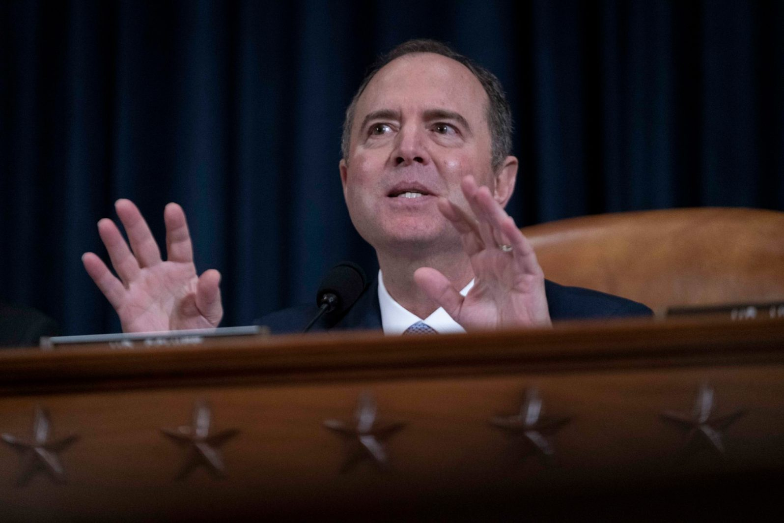 Chairman of the House Intelligence Committee ADAM SCHIFF (D-CA), gives final remarks during the hearing featuring the witness testimony of Dr. Fiona Hill and David Holmes, November 21, 2019