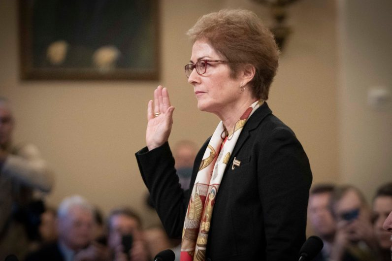 "MARIE YOVANOVITCH, former United States Ambassador to Ukraine, is sworn in before she testifies before the House Intelligence Committee, after she was reportedly pushed out of her position by President Donald Trump. The call summary between President Trump and Ukrainian President Volodymyr Zelensky said that Trump called her ""bad news"". In response, YOVANOVITCH ""shocked"" and ""devastated"" at the President's characterization of her. November 15, 2019"