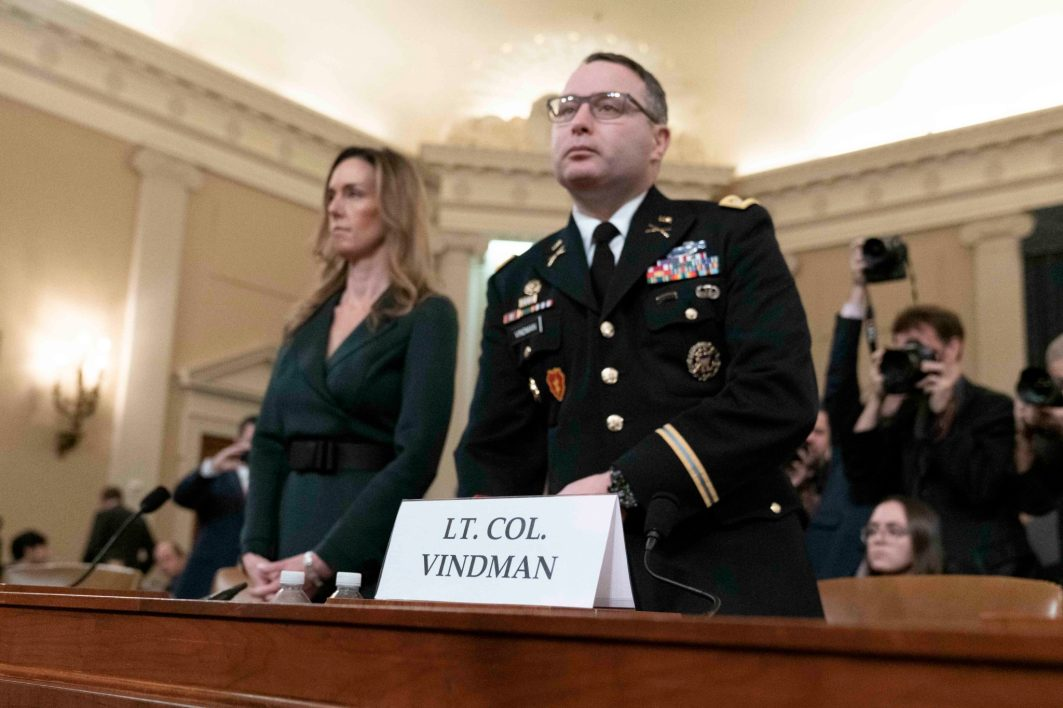 LTC ALEXANDER VINDMAN, Director for European Affairs for the NSC and JENNIFER WILLIAMS, Russia adviser for Vice President Pence, prepare to testify before the House Intelligence Committee, November 19, 2019