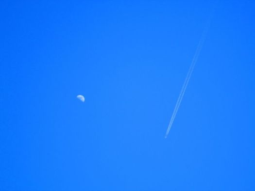 Jet Stream And Moon