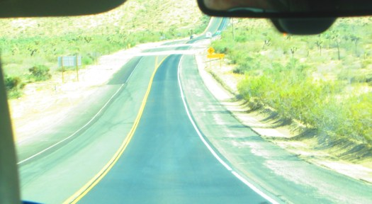 The long stretch of road ahead on a drive to Joshua Tree National Park