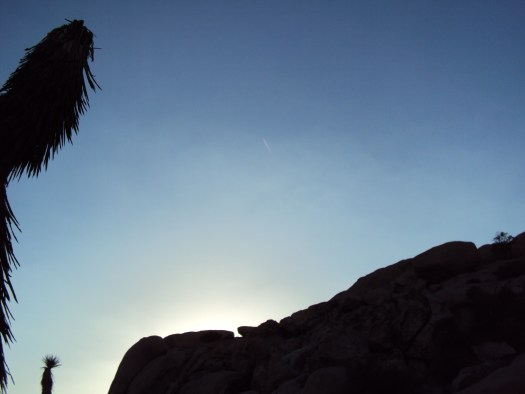 Jet stream in the sky above Joshua Tree National Park.