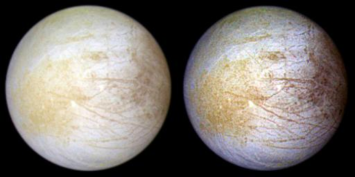 Europa Global Views in Natural and Enhanced Color
