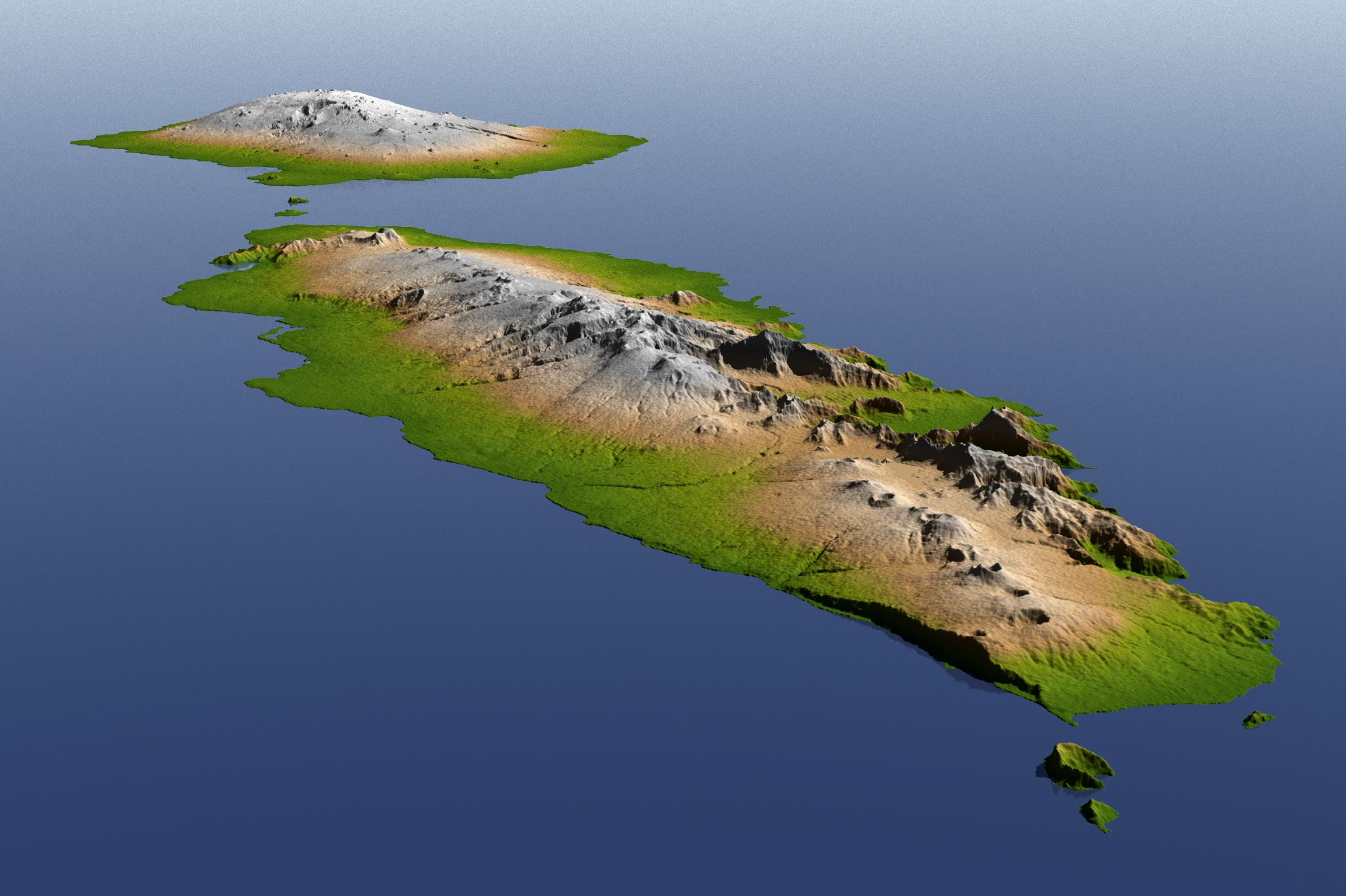 The topography of Savai'i (background) and Upolu (foreground), the two large islands of the Independent State of Samoa, is well shown in this color-coded perspective view generated with digital elevation data from the Shuttle Radar Topography Mission (SRTM.)  On September 29, 2009, a tsunami generated by a major undersea earthquake located about 200 kilometers (120 miles) south of Samoa inundated villages on the southern coast of the islands with an ocean surge perhaps more than 3 meters (10 feet) deep. It also impacted the more heavily populated northern coasts with a surge measured at nearly 1.5 meters (4 feet) at the capital city Apia (on Upolu). Image by     NASA/JPL/NGA