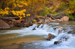 5. A walk along the Riverside Trail brings you to the Virgin River rock fall. A slow shutter speed makes the water flow. ©Kit Frost