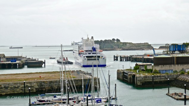 "The tugboat ""Faithful"" helped the car ferry MV Armorique across Plymouth Sound in very heavy winds and rainstorms."