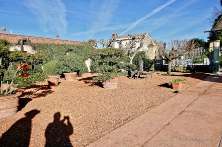 Between the reception and the front gate is a sculpture garden overlooked by the cooking school.