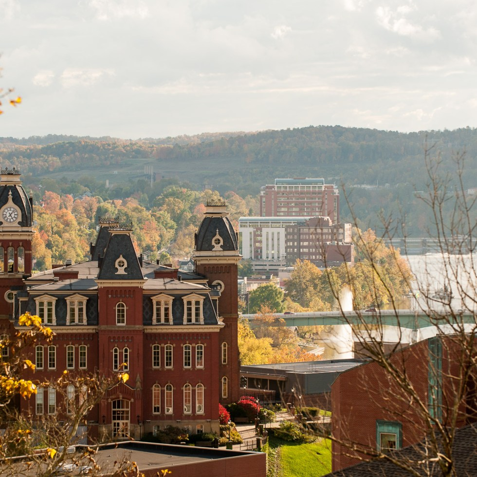 University of West Virginia fall color campus river and mountains