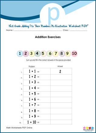 First Grade Adding 1 to Their Numbers No Illustration Worksheet PDF
