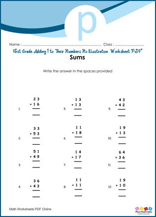 First Grade Adding Double Digits Worksheet PDF