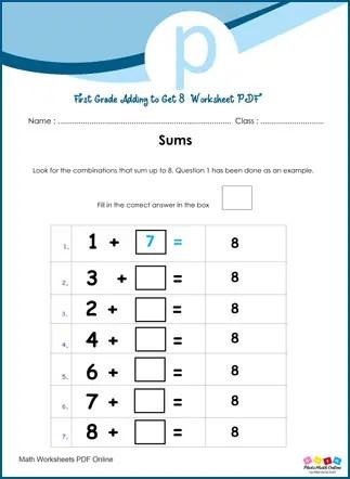First Grade Adding To Get 8 Digits Worksheet PDF
