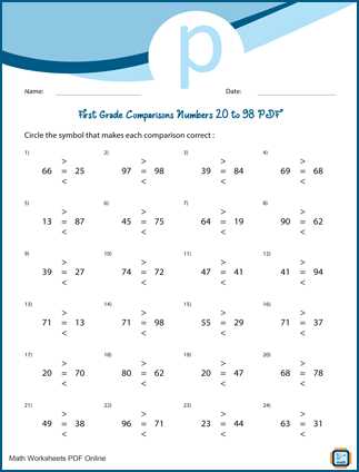 First Grade Comparisons Numbers 20 to 98 Worksheet