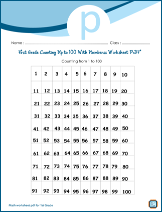 First Grade Counting Up to 100 with Numbers Worksheet