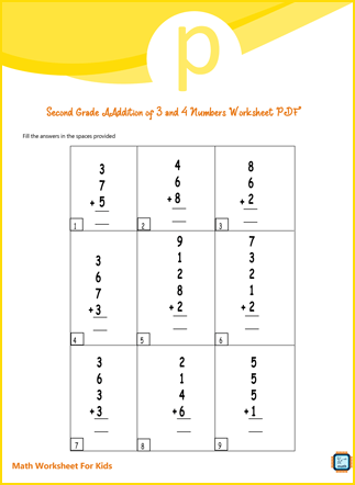 Second Grade Addition of 3 and 4 Numbers Worksheet