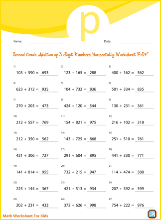 Second Grade Addition of 3 Digit Numbers Horizontally Worksheet