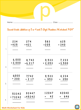 Second Grade Addition of 3 or 4 and 5 Digit Numbers Worksheet