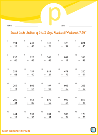 Second Grade Addition of 3 to 2 Digit Numbers II Worksheet