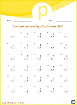 Second Grade Addition of Single Digits Worksheet