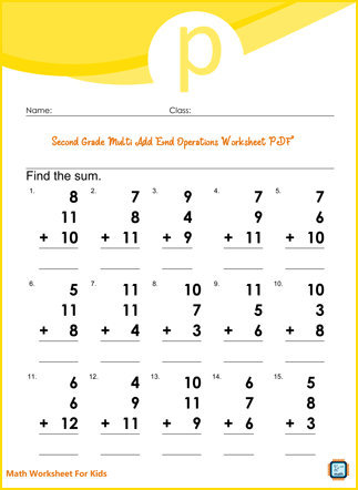 Second Grade Multi Add End Operations Worksheet