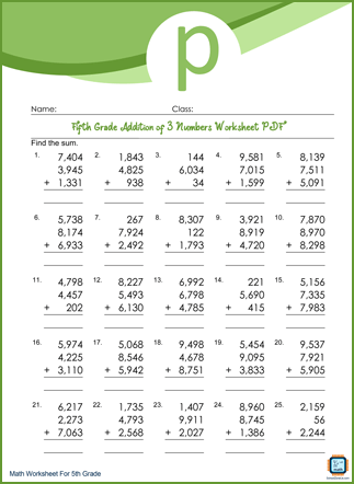 Addition of 3 Numbers Grade 5 Worksheet PDF With Answers