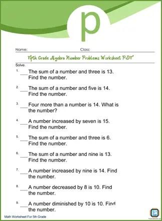 Algebra Number Problems Grade 5 Worksheet PDF Printable