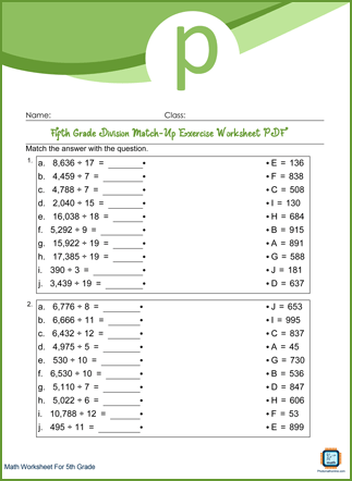 Division Match-Up Exercise Grade 5 Worksheet PDF With Answers