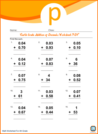 Fourth Grade Addition of Decimals Worksheet