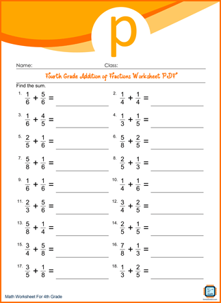Fourth Grade Addition of Fractions Worksheet