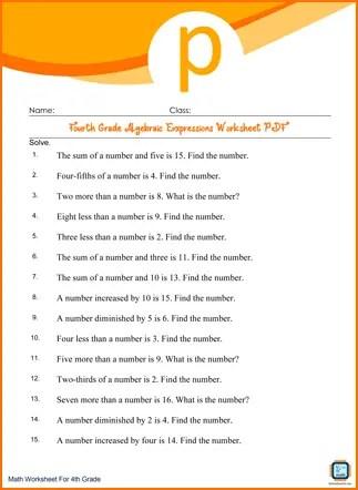 Fourth Grade Algebraic Expressions Worksheet