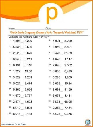 Grade 4 Comparing Decimals Up to Thousands Worksheet PDF ...