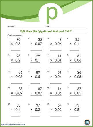 Multiply Decimal Grade 5 Worksheet PDF Printable