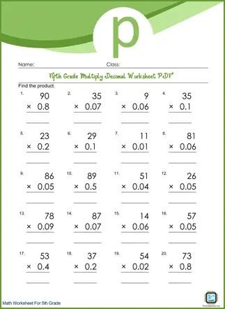 Multiply Decimal Grade 5 Worksheet PDF Printable