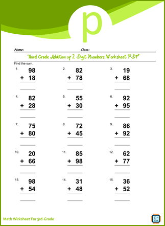 Third Grade Addition of 2 Digit Numbers Worksheet
