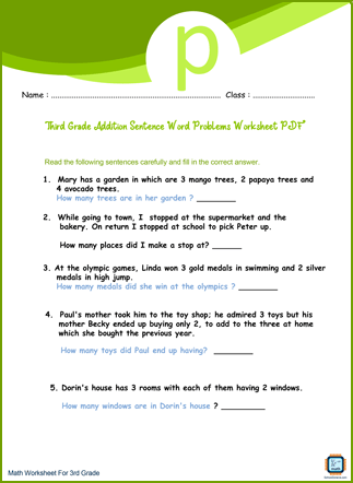 Third Grade Addition Sentence Word Problems Worksheet