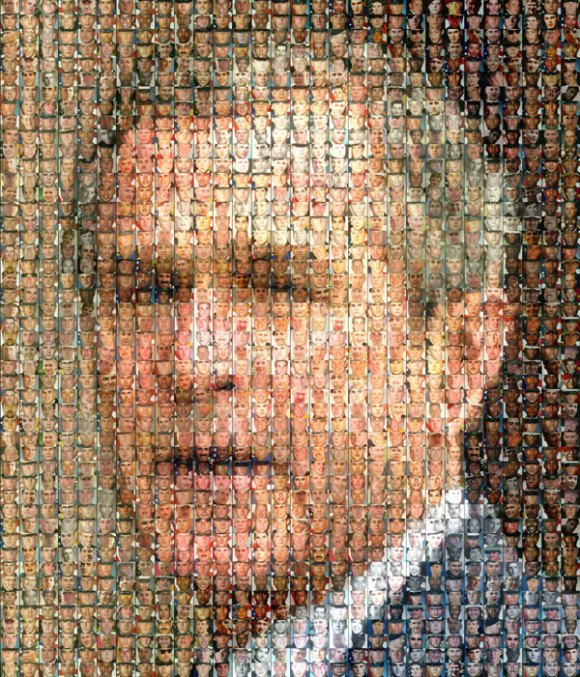 Mosiac of soldiers faces arranged to portray Bush