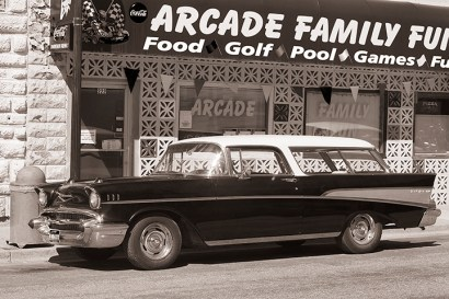 "Outside the Arcade in Lava Hot Springs, sits an incredible 1957 Chevy ""Nomad"" Bel Air station wagon."