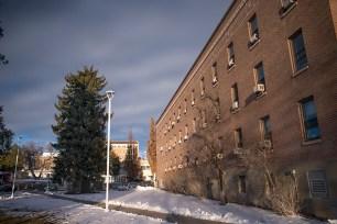 Winter light on Graveley Hall, ISU