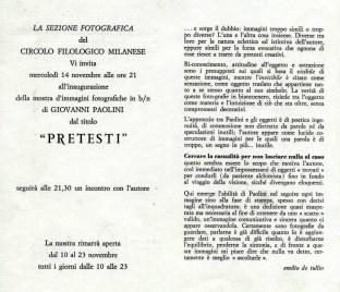 mostra Giovanni Paolini Pretesti al filologico di Milano