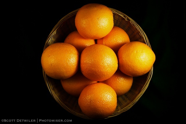 Basket of oranges arranged in a pattern
