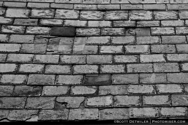 Slate Roof in black and white