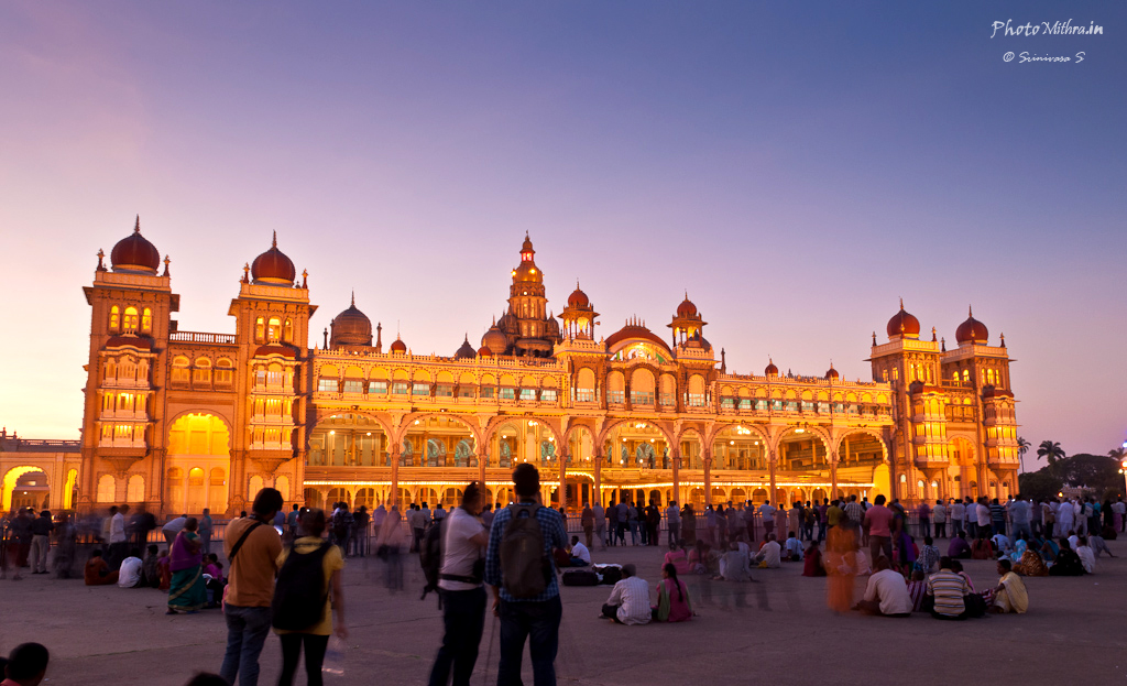 Mysore Palace in evening twilight