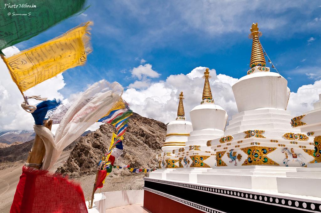 Stupas atop Thiksey monastery