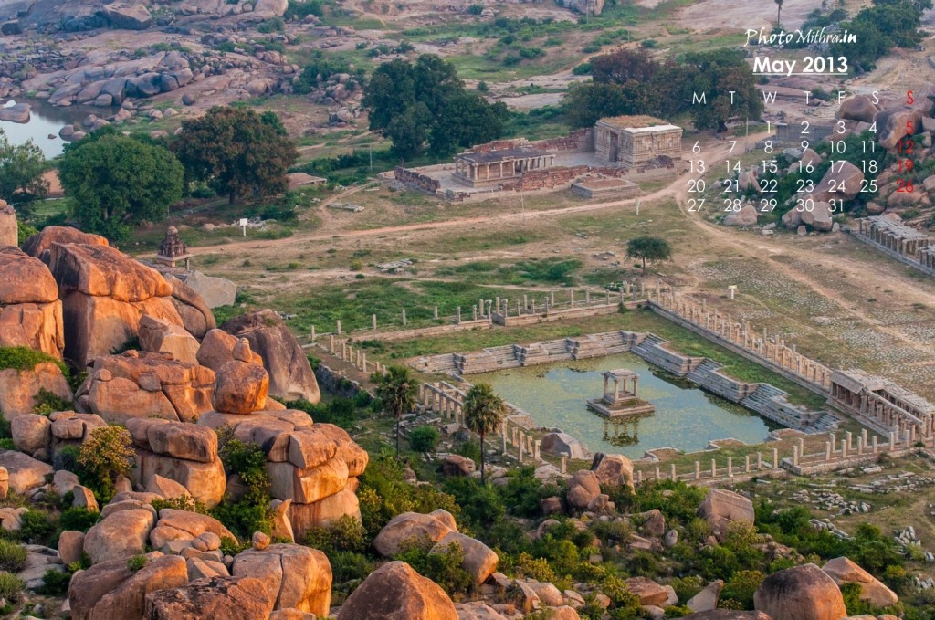Golden bounder-strewn landscape at Hampi
