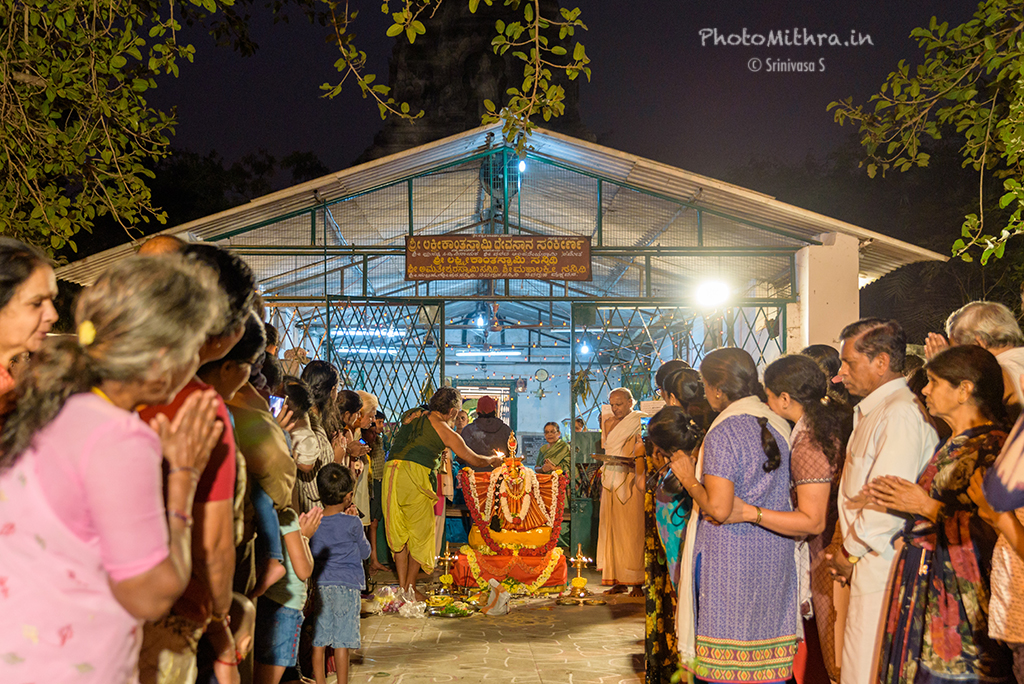 Priest performing pooja before Deepotsava