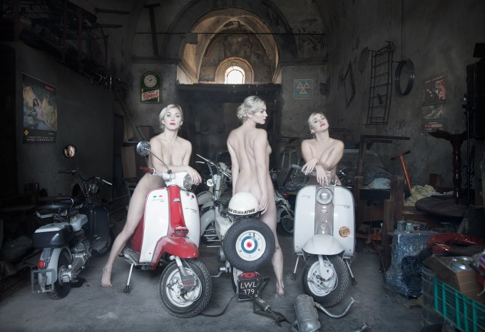 Three Graces on Lambrettas