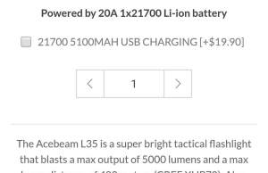 acebeam l35 latticepower tactical flashlight