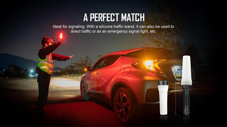 Olight freyr depicted with the silicone traffic wand diffuser guiding traffic