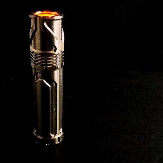 focus works edc cylon custom titainium flashlight with tritium. a collab with Skelton bladeworks