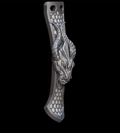 render of a sterling silver custom pocket clip compatible with steelflame clips